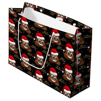 christmas poo emoji with santa hat  gift bag