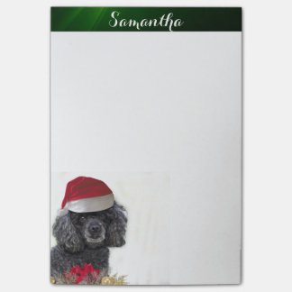Christmas poodle  4x6 post it notes pad