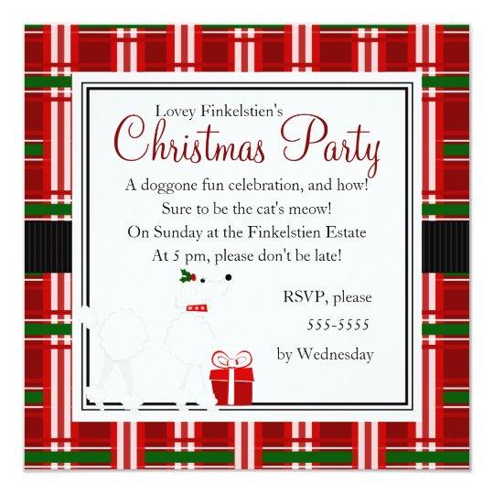 Christmas Poodle and Plaid! Card