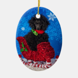Christmas Poodle Ceramic Ornament