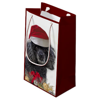 Christmas poodle dog small Gift Bag