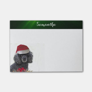 Christmas poodle personalized post it notes pad