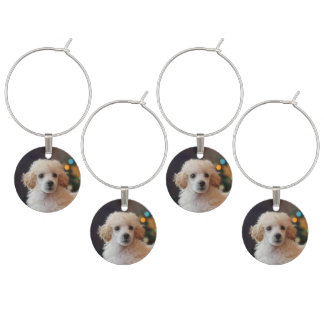 Christmas poodle puppy wine charms