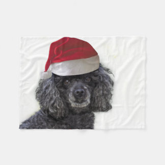 Christmas poodle  throw fleece blanket