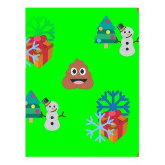 christmas poop emoji postcard