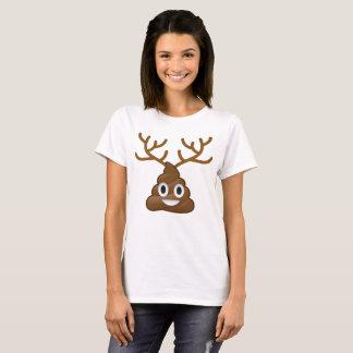 Christmas Poop Emoji with Antlers T-Shirt