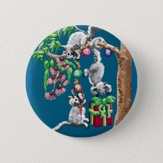 Christmas possums 6 cm round badge
