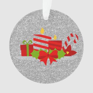 Christmas Potpourri Silver Faux Glitter Ornament