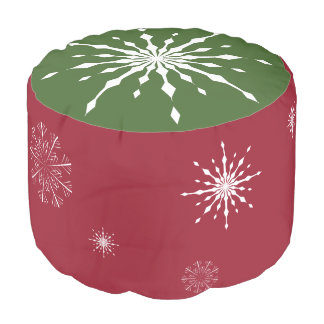 Christmas Pouf Red and Green with Snowflakes Round Pouffe