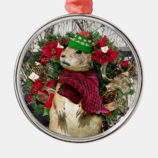 Christmas  Prairie Dog Silver-Colored Round Decoration