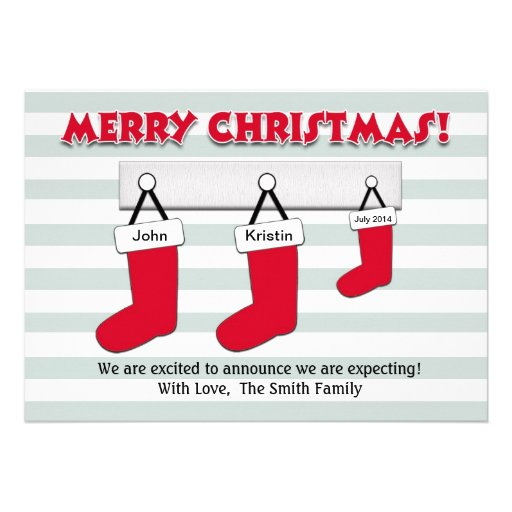 Christmas Pregnancy Announcement Card - Stockings