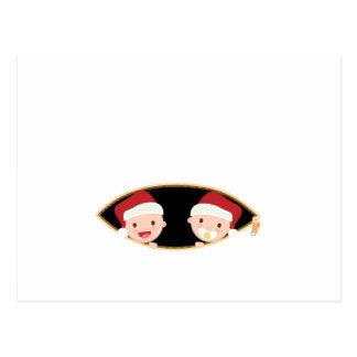 christmas pregnancy twins santa baby twins postcard