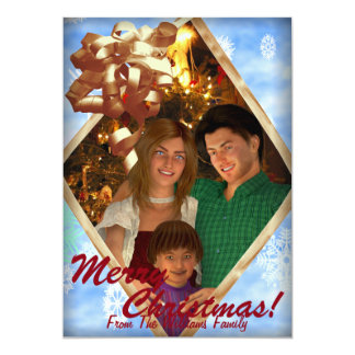 Christmas Present Family Greeting Snowflakes A 13 Cm X 18 Cm Invitation Card