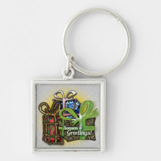 Christmas presents Silver-Colored square key ring