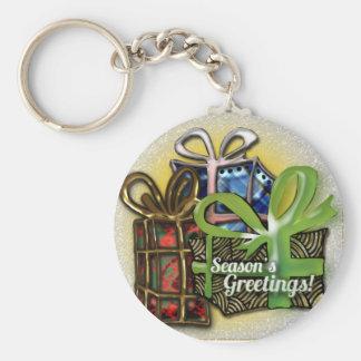 Christmas presents basic round button key ring
