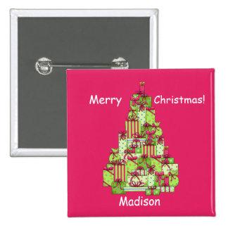Christmas Presents Tree Red Name Badge