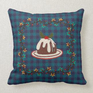 Christmas Pudding Blue Plaid Throw Pillow