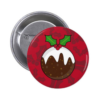 Christmas Pudding Button Badge