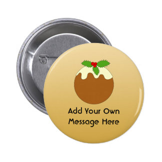 Christmas Pudding. Gold colour background. Pin