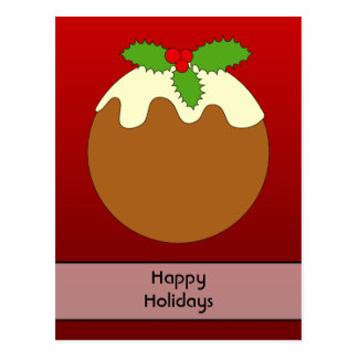 Christmas Pudding. Happy Holidays. On Red Post Cards