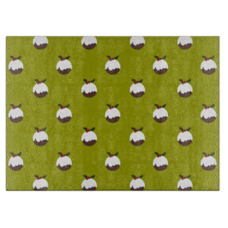 Christmas Pudding on Green Pattern Cutting Board