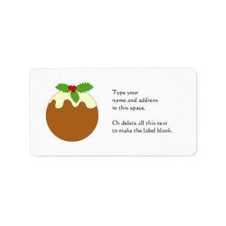 Christmas Pudding. White background. Address Label