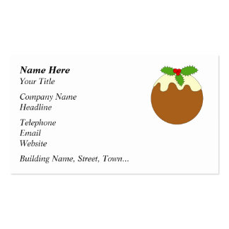 Christmas Pudding. White background. Business Card Templates
