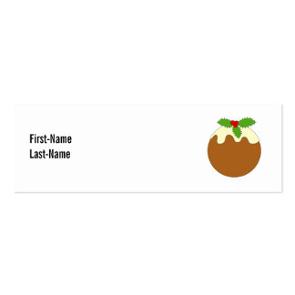 Christmas Pudding. White background. Business Cards