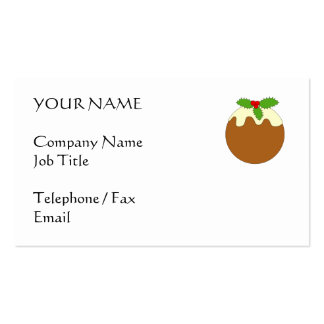 Christmas Pudding. White background. Business Card Template