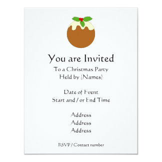 Christmas Pudding. White background. 11 Cm X 14 Cm Invitation Card