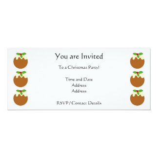 Christmas Pudding. White background. 10 Cm X 24 Cm Invitation Card