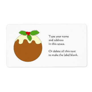 Christmas Pudding. White background. Shipping Label