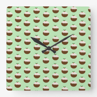 Christmas Puddings Square Wall Clock