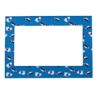 Christmas puffin snowman picture frame