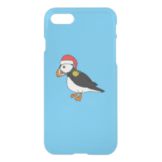 Christmas Puffin with Red Hat & Gold Jingle Bell iPhone 7 Case