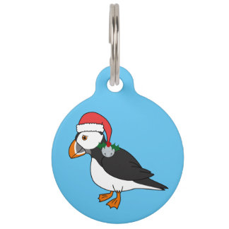 Christmas Puffin with Red Hat & Silver Jingle Bell Pet Nametags