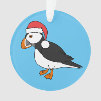 Christmas Puffin with Red Santa Hat