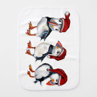 Christmas Puffins Burp Cloth