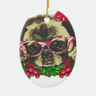 Christmas Pug Ceramic Ornament