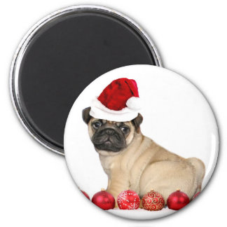 Christmas pug dog 6 cm round magnet