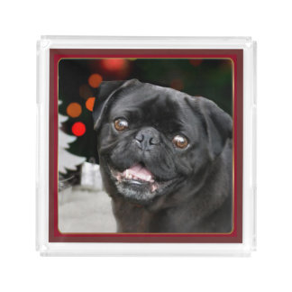 Christmas pug dog acrylic serving tray