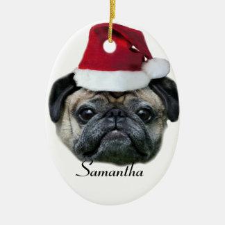 Christmas pug dog ceramic oval decoration