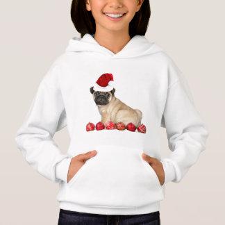 Christmas pug dog kids hoodie
