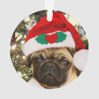 Christmas pug dog ornament