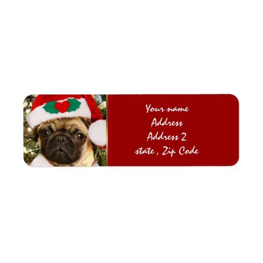 Christmas Pug dog Return Address Label