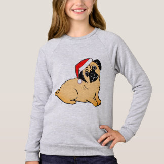 Christmas Pug Girls' Raglan Sweatshirt