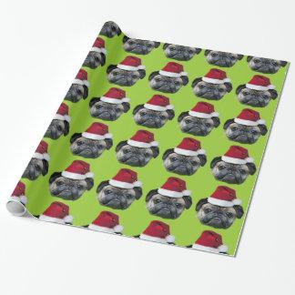 Christmas Pug green wrapping paper