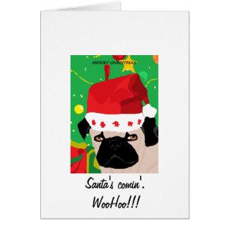 Christmas Pug Greeting Card