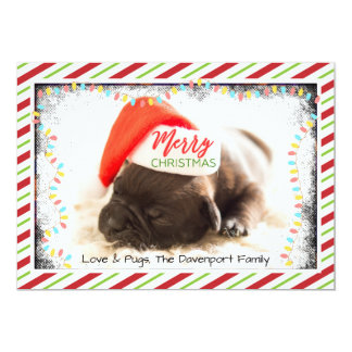 Christmas Pug in Santa Hat with Christmas Lights Card