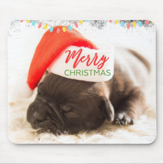 Christmas Pug in Santa Hat with Christmas Lights Mouse Pad